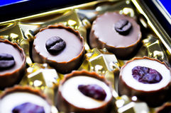 Chocolate with coffee bean topping Royalty Free Stock Photos