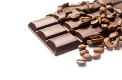 Chocolate and coffee beans Stock Photos