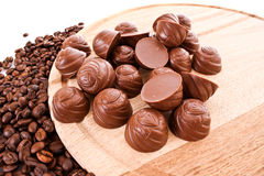 Chocolate and coffee beans Royalty Free Stock Photo