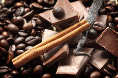 Chocolate and coffee beans Stock Photo