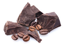 Chocolate, coffee beans Stock Images