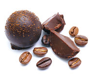 Chocolate, coffee beans Stock Photography