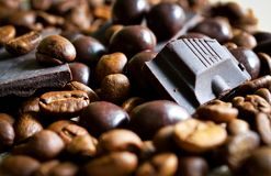 Chocolate and coffee beans stock images