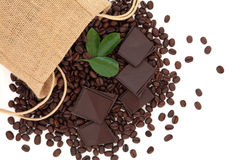 Chocolate and Coffee Beans Royalty Free Stock Photos