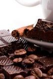 chocolate, coffee beans, cinnamon Stock Photos