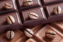 Chocolate and coffee beans. Close-up Stock Image