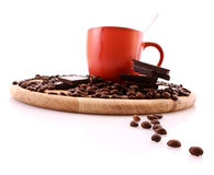 Chocolate, coffee beans and cup with coffee Royalty Free Stock Photo