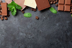 Chocolate and coffee beans Royalty Free Stock Image