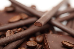 Chocolate and coffee beans Royalty Free Stock Images