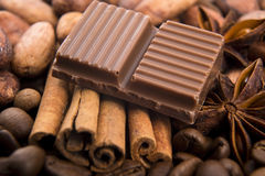 Chocolate with coffee beans, spices and cacao Royalty Free Stock Photography