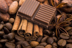 Chocolate with coffee beans, spices and cacao Stock Images