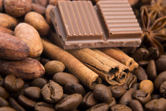Chocolate with coffee beans, spices and cacao Royalty Free Stock Image
