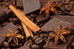 Chocolate,coffee beans and spices Stock Image