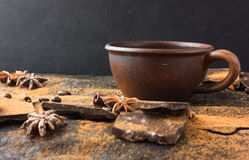 Chocolate, coffee beans, tubby. Spices, cacao on a grunge theme background. Mystical light Royalty Free Stock Image