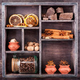 Chocolate, coffee beans and various spices Royalty Free Stock Images