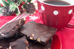 Chocolate with coffee on Christmas Stock Image