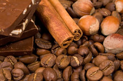 Chocolate, coffee, cinnamon  and hazel Stock Photography