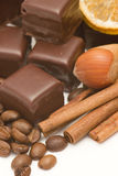Chocolate, coffee, cinnamon, nuts Stock Image