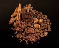 Chocolate, coffee , cinnamon and nuts Stock Image