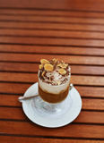 Chocolate coffee with cream and nuts Royalty Free Stock Photo