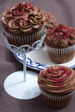 Chocolate coffee cupcakes with butter cream on a white pedestal Royalty Free Stock Photos