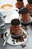 Chocolate coffee cupcakes with dark frosting Royalty Free Stock Image