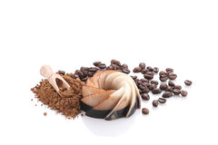 Chocolate coffee dessert, kako powder and coffee beans on white Stock Photography