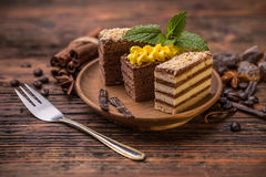 Chocolate and coffee layer cake. On brown plate Stock Images