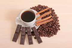 Chocolate and coffee mag. Coffee cup and chocolate on a wood background Royalty Free Stock Photos