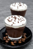 Chocolate-coffee mousse with whipped cream in glasses Royalty Free Stock Photo
