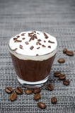 Chocolate-coffee Mousse With Whipped Cream In A Glass On Gray Stock Image