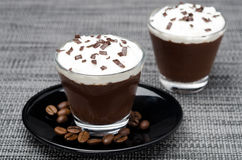 Chocolate-coffee Mousse With Whipped Cream In Portions Stock Photography