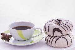 Chocolate. Coffee and pastries for breakfast Stock Image