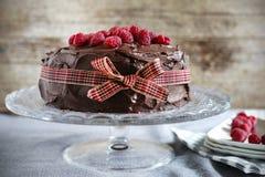 Chocolate Coffee Raspberry Cake With Creamy Ganache And Ribbon Stock Photo