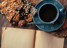 Chocolate coffee and recipe book Royalty Free Stock Images