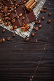 Chocolate with coffee and spices Royalty Free Stock Images