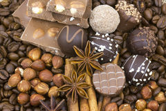 Chocolate, coffee, spices and nuts Stock Photos