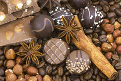Chocolate, coffee, spices and nuts Stock Photo