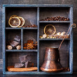 Chocolate, coffee and spices. Vintage collage Royalty Free Stock Photos