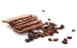 Chocolate with coffee on white background Stock Photography