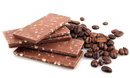 Chocolate with coffee on white background Stock Photos