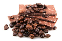 Chocolate with coffee on white background Royalty Free Stock Images