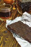 Chocolate and cognac Stock Image