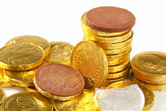 Chocolate coins Royalty Free Stock Images