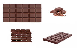 Chocolate collage. Over white background stock photo