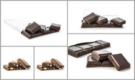Chocolate collage Stock Images