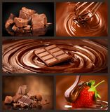 Chocolate collage set. Chocolate chunks, candies, sweets, strawberry in chocolate. Design over dark background royalty free stock photography