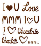 Chocolate collection of love lettering Stock Images