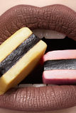 Chocolate color on lips, sweet holiday candy Royalty Free Stock Photos