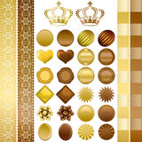 Chocolate color ornaments set Stock Photos